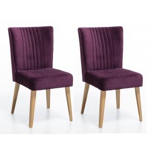 LOT DE 2 CHAISE scandinave VELOURS violet prune - pieds bois chêne clair - ROYAL